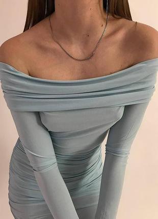 Платье небесного оттенка  от boohoo night 💙2 фото