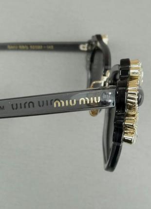 Miu miu очки женские солнцезащитные с камнями серые зеркальные8 фото