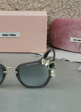 Miu miu очки женские солнцезащитные с камнями серые зеркальные2 фото