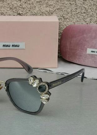 Miu miu очки женские солнцезащитные с камнями серые зеркальные3 фото