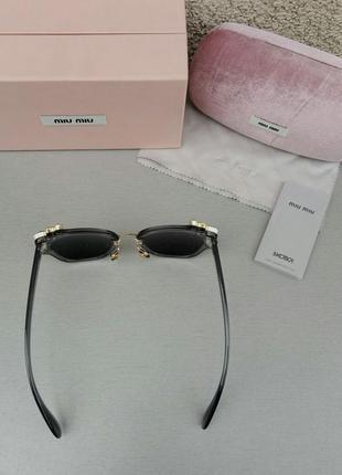 Miu miu очки женские солнцезащитные с камнями серые зеркальные5 фото