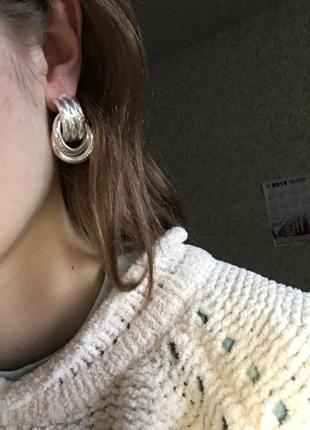 Cерьги серёжки винтаж винтажные ретро кольца под серебро новые качественные7 фото