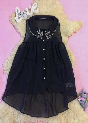 Стильная блуза черная прозрачная нарядная от atmosphere  размер м 10