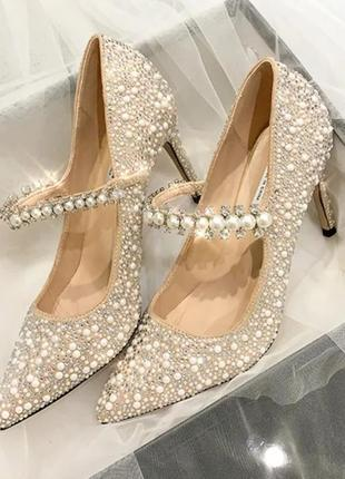 Свадебные туфли лодочки в стразах