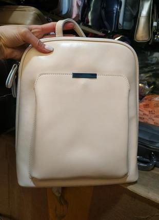 Светлый кожаный рюкзак для формата а4