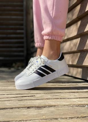 Крутые кроссовки adidas samba white / black