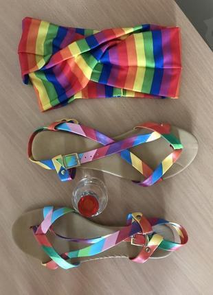 Оригинальные разноцветные босоножки радуга rainbow 🌈 турция