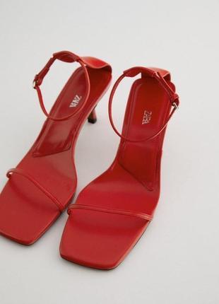 Красные боссоножки zara, сандалии zara, туфли красные, туфли zara, туфлі