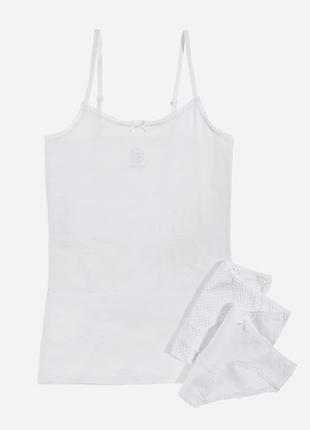 Шикарний сніжно-білий наборчик, сет майка и трусики для девочки cool club 158/164