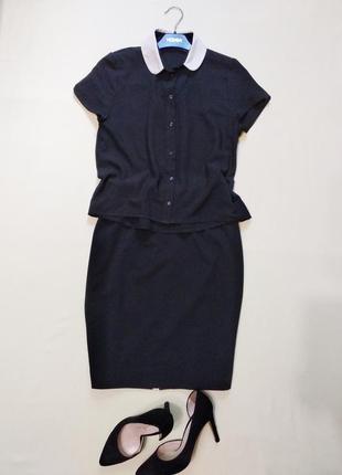 Базовая черная блуза блузка с белым воротничком atm xs-s