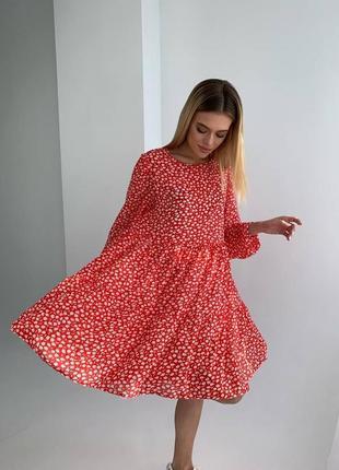 Платье шифон красное в цветах юбка воздушное