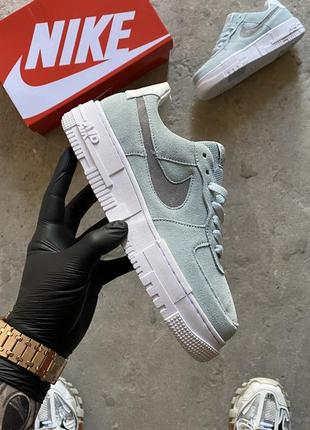 Кроссовки nike air force 1 pixel blue suede.