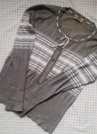 Актуальный серый свитерок olko, на шнуровке и пуговицах