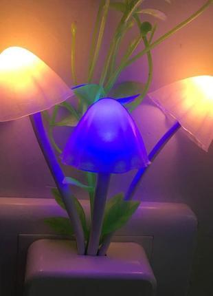 Декоративный светодиодный ночник грибы rgb с датчиком света