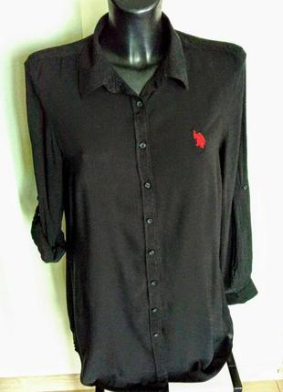 Шикарная фирменная тонкая черная рубашка с логотипом 100% коттон