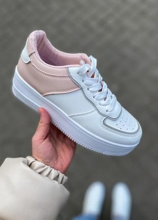 Кроссовки на платформе белые с розовым