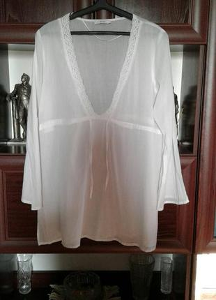 Батистовая белая пляжная блузка туника с кружевом george индия батал