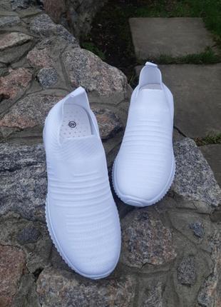 Распродажа! летние белые текстильные кроссовки носки, кеды, мокасины большие размеры
