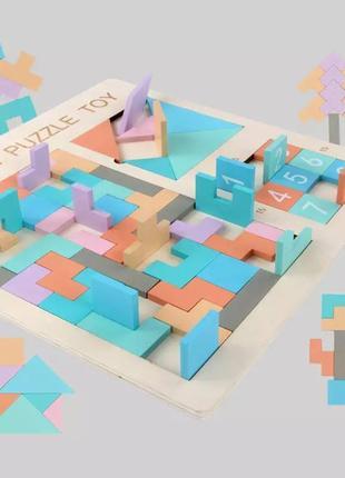 Детская деревянная головоломка 3в1 развивающая игра пазл тетрис