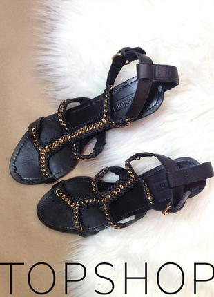Кожаные босоножки /сандалии с цепями от бренда topshop размер 39