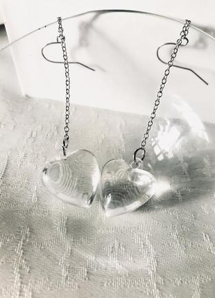 Серьги с прозрачными сердечками