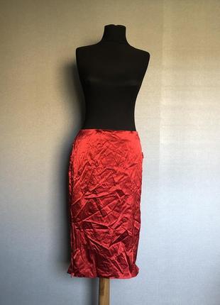 Шёлковая юбка миди эффектная дорогая фирма