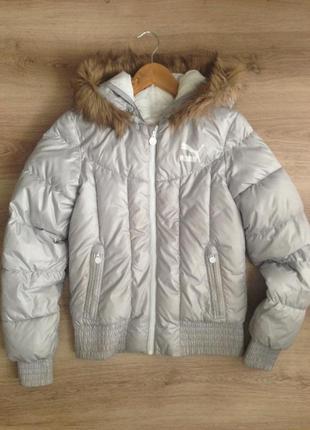 Куртка серебренная с мехом puma осень/зима