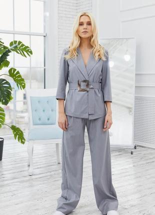 Костюм брюки-палаццо + пиджак серый в полоску