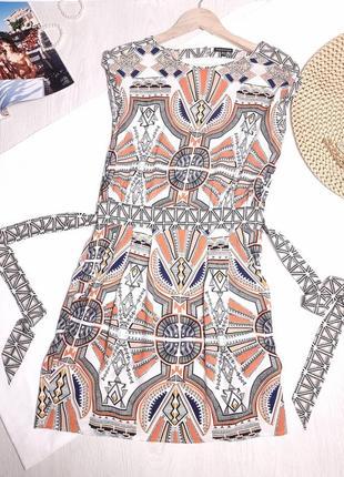 Платье в орнамент летнее сарафан с поясом