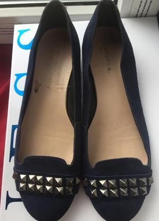 Мокасины балетки брендовые carvela (италия) замша, на широкую ногу 25.5