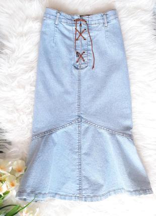 Юбка джинсовая миди с рюшами на шнуровке из денима голубая размер s m miss sixty