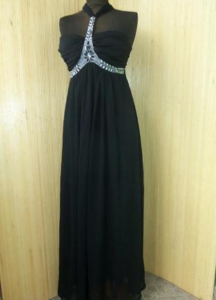 Роскошное чёрное вечернее  длинное платье  в пол под грудь eve с открытой спиной