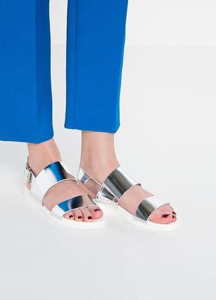 Кожаные серебряные сандалии pieces размер 37-38