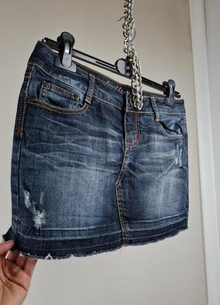 Юбка джинсовая с люрексовой строчкой/спідниця міні