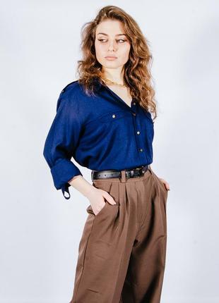 Синяя рубашка женская классическая