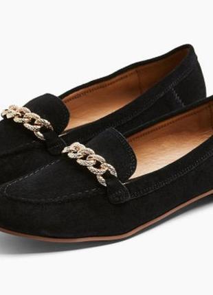 Туфли женские лоферы черные замшевые topshop