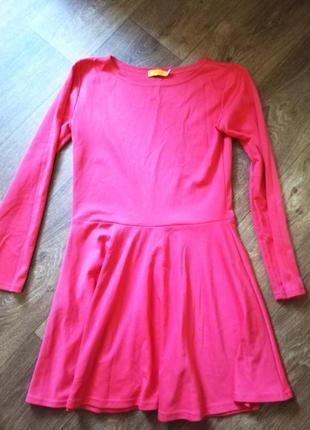 Платье трикотаж длинный рукав коралловый цвет короткое