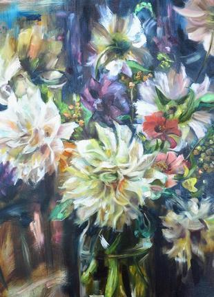 """Картина по мотивам даниэла киза """"натюрморт с георгинами, цинниями и гортензиями"""""""