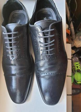 Dune стильные чёрные кожаные туфли 42 р.