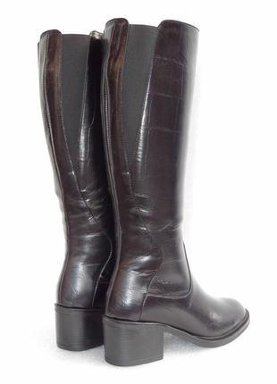 Сапоги, зимние, из натуральной кожи под рептилию, черного цвета, 36-40р.