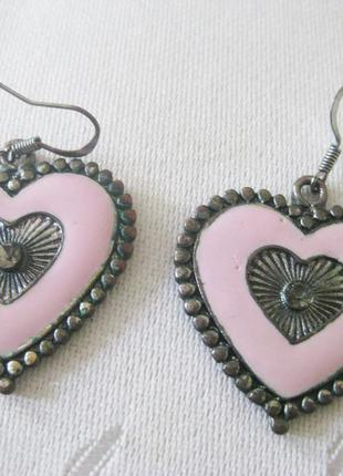 Серьги сердечки розовые parfois серёжки