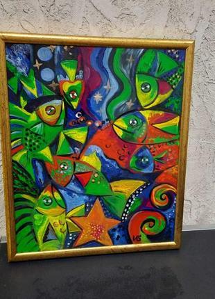 """Картина """"рыбки"""" 35х44 стекло , акриловые краски."""