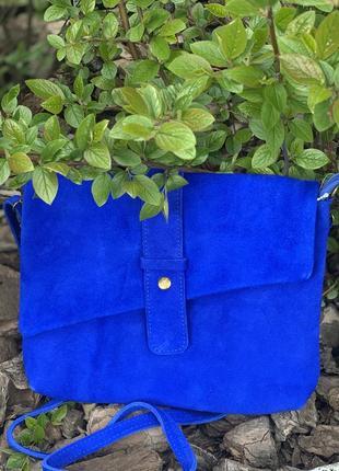 Замшевый ярко-синий клатч eden, италия, цвета в ассортименте
