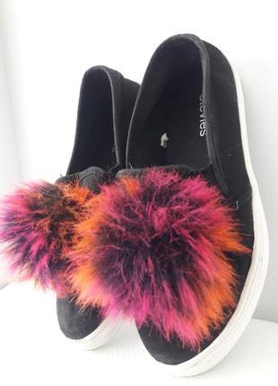 Детские слипоны туфли мокасины черные замшевые stevies дитячі сліпони туфлі