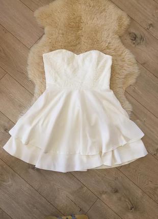 Вечірнє коктейльне плаття корсет / молочне / біле плаття / платье молочное / платье белое