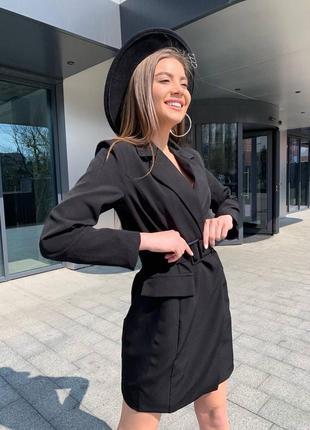 Женское платье пиджак с поясом5 фото