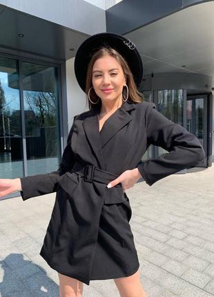 Женское платье пиджак с поясом3 фото