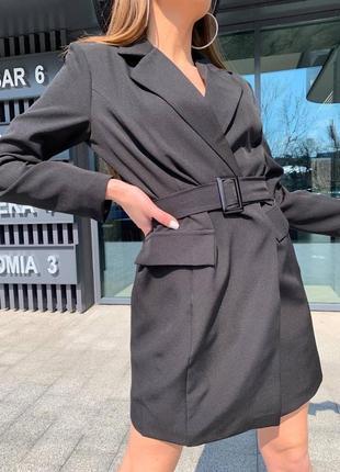 Женское платье пиджак с поясом9 фото