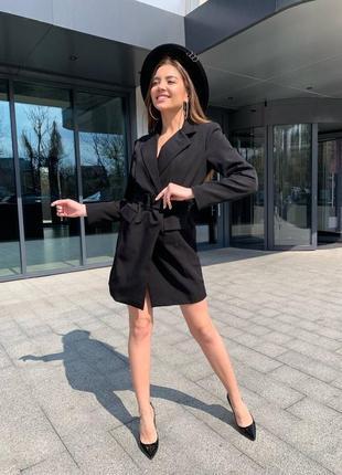 Женское платье пиджак с поясом4 фото