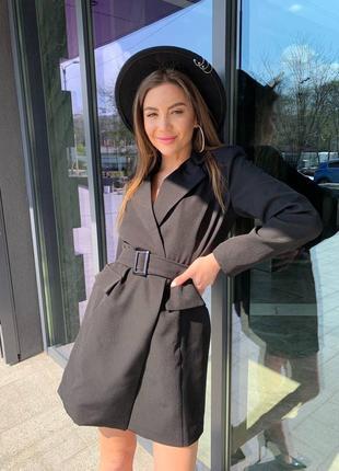 Женское платье пиджак с поясом2 фото